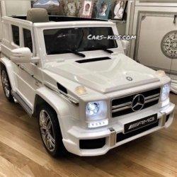 Электромобиль Mercedes-Benz G63 AMG белый глянец (АКБ 12v 7ah, колеса резина, сиденье кожа, пульт, музыка)
