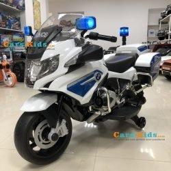Электромотоцикл BMW R1200RT Police 12V - 212 белый (колеса резина, кресло кожа, музыка)